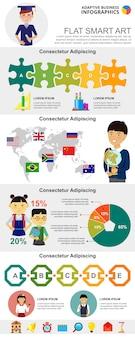 Set di grafici infographic di pianificazione aziendale e istruzione