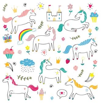 Set di graziosi unicorni