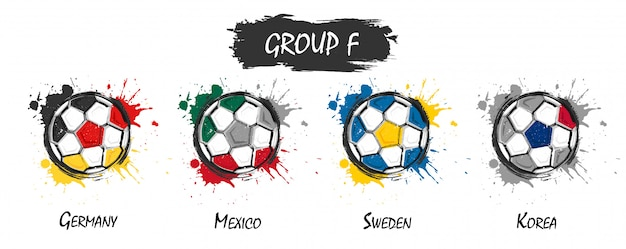 Set di gruppo di squadra nazionale di calcio f. realistico acquerello arte pittura con schizzi macchiati