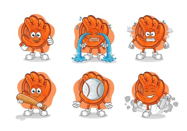 Set di guanti da baseball dei cartoni animati