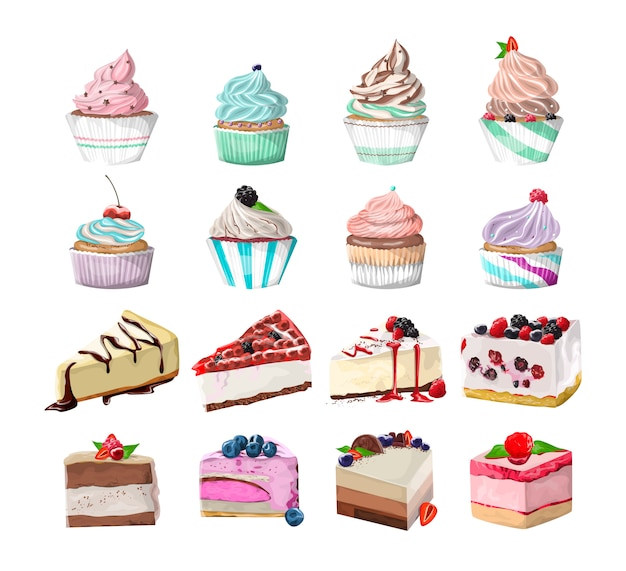 Set di gustosi dessert deliziosi. pezzi di torta e cupcakes. cibo spazzatura dolce. illustrazione