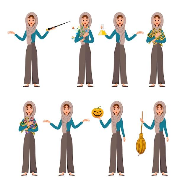 Set di halloween di personaggi femminili. ragazza con attributi di vacanza nelle sue mani.