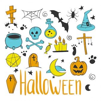 Set di halloween. elementi decorativi di zucca e calderone