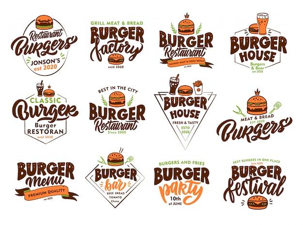 Set di hamburger vintage, emblemi di fast food e francobolli. distintivi colorati, modelli, adesivi