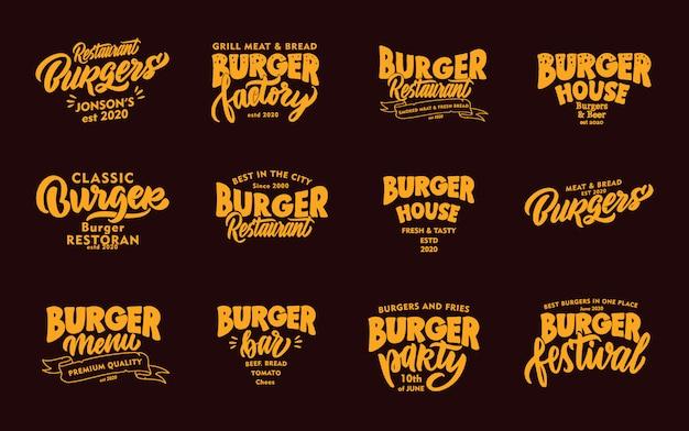 Set di hamburger vintage, frasi di fast food. emblemi, distintivi, modelli, adesivi