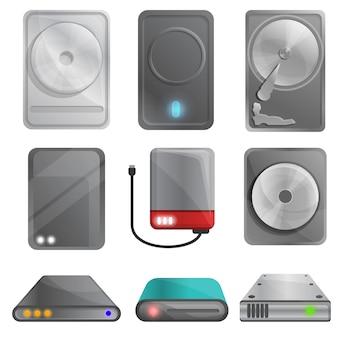 Set di hard disk, stile cartoon