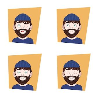 Set di hipster man faces with different expressions collezione di emozioni di guy barbuto