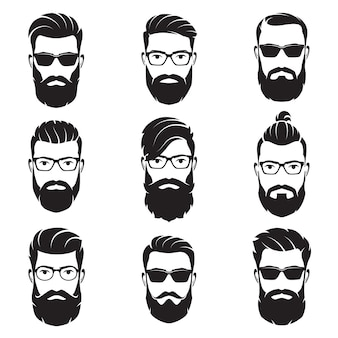 Set di hipsters volti uomini barbuti di vettore