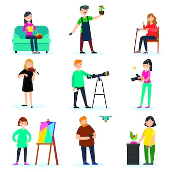 Set di hobby di persone adulte