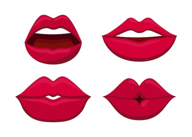 Set di icona di labbra femminili sensualità