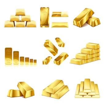Set di icona di lingotti d'oro