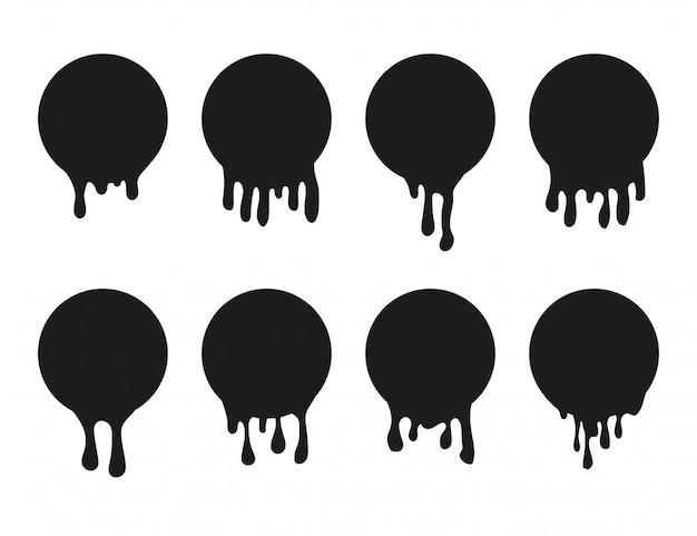 Set di icona di vernice gocciolante per il design.