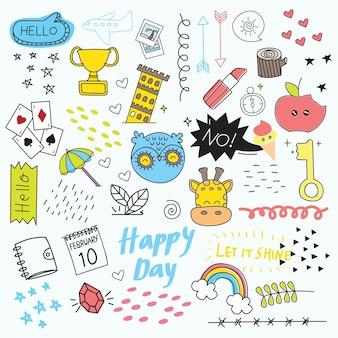 Set di icona e elemento di design in stile doodle