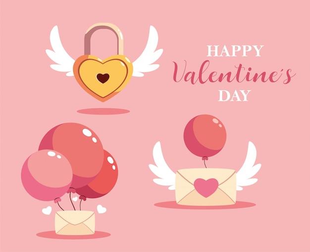 Set di icona san valentino