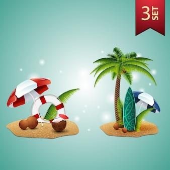 Set di icone 3d volumetriche estive per le tue arti