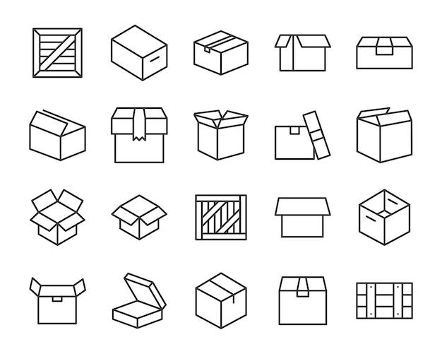 Set di icone a forma di scatola, come consegna, invio, trasporto, distribuzione