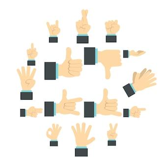 Set di icone a mano, piatto ctyle