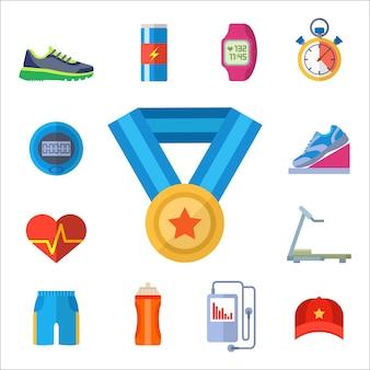 Set di icone accessori sport.