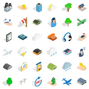 Set di icone aeroporto tutto il giorno, stile isometrico