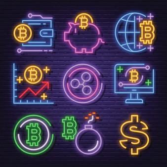 Set di icone al neon di criptovaluta