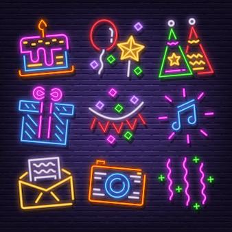 Set di icone al neon festa di compleanno