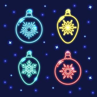 Set di icone al neon pallina linea natale