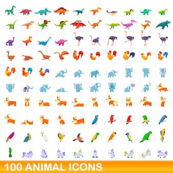 Set di icone animali, stile cartoon