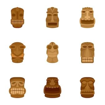Set di icone antico idolo, stile piano