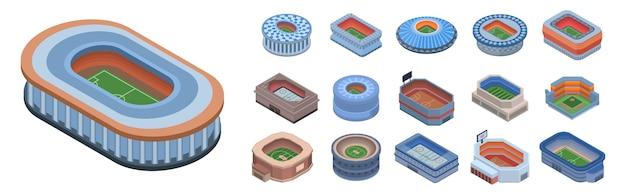 Set di icone arena. insieme isometrico delle icone di vettore di arena per il web design isolato su priorità bassa bianca