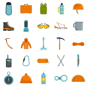 Set di icone attrezzatura alpinismo