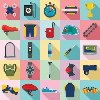 Set di icone attrezzatura ciclismo, stile piano