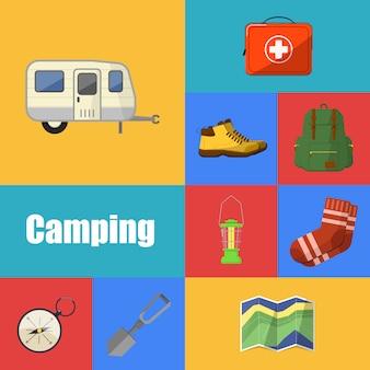 Set di icone attrezzatura da campeggio