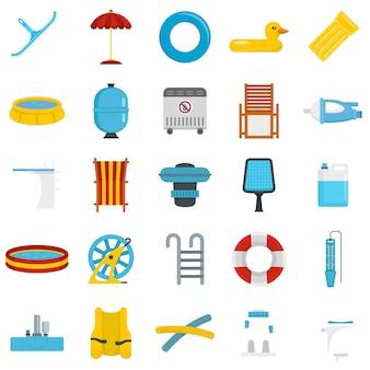 Set di icone attrezzatura piscina