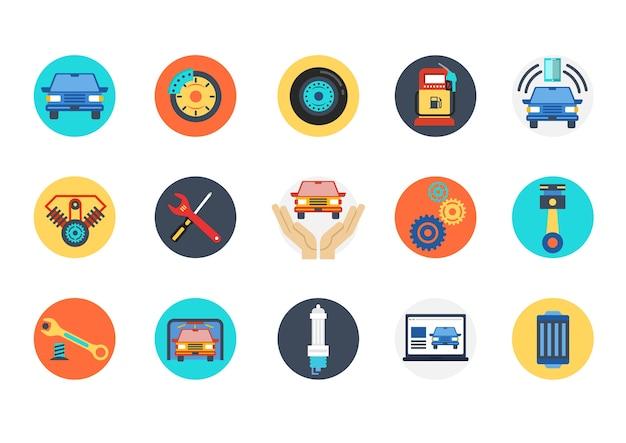 Set di icone automobilistiche e meccaniche