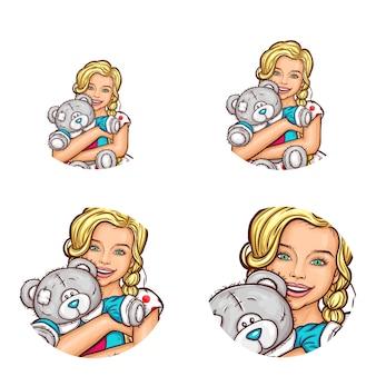 Set di icone avatar di pop art tondo per utenti di social network, blog, icone di profilo.