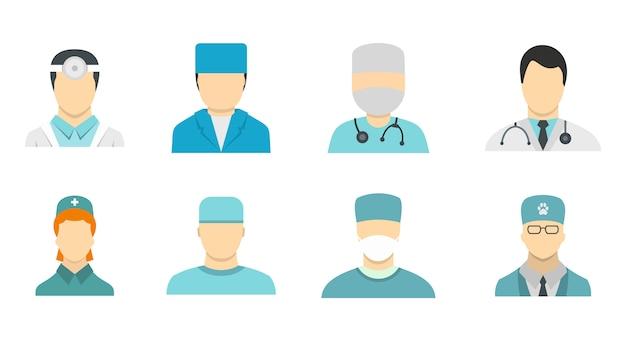 Set di icone avatar medico. insieme piano della raccolta delle icone di vettore dell'avatar del medico isolato