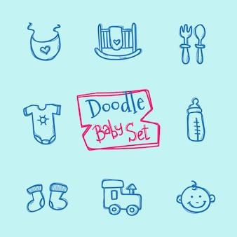 Set di icone bambino doodle. collezione disegnata a mano carina di oggetti per bambini
