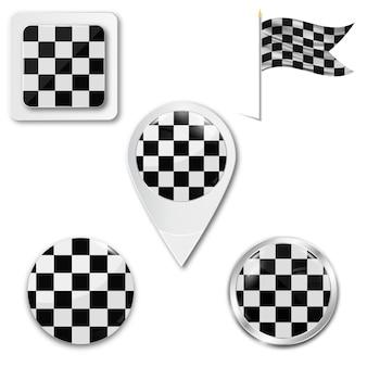 Set di icone bandiera a scacchi per corse