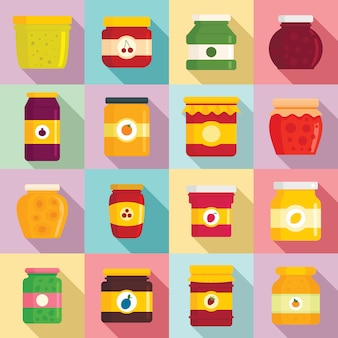 Set di icone barattolo di marmellata, stile piano