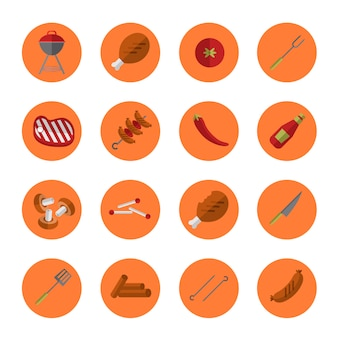 Set di icone barbecue grill