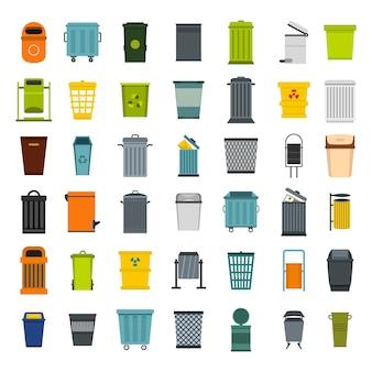 Set di icone bidone della spazzatura. insieme piano della raccolta delle icone di vettore del bidone della spazzatura isolato
