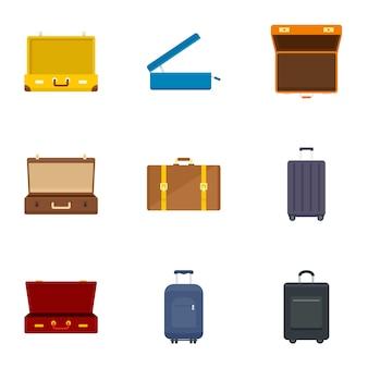 Set di icone borsa bagagli, stile piano