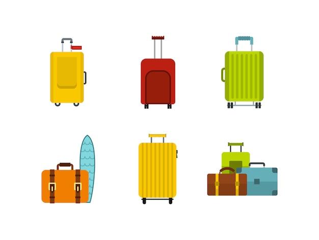 Set di icone borsa da viaggio. insieme piano della raccolta delle icone di vettore della borsa di viaggio isolata