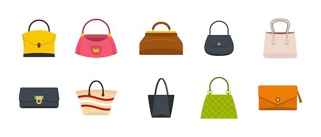 Set di icone borsa donna. insieme piano della raccolta delle icone di vettore della borsa della donna isolato