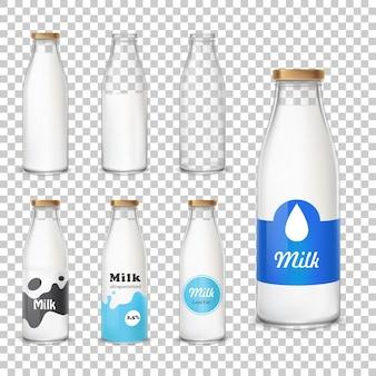 Set di icone bottiglie di vetro con un latte in uno stile realistico