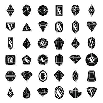 Set di icone brillanti gioiello