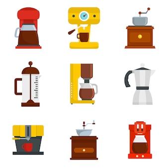 Set di icone caffè espresso pentola caffettiera