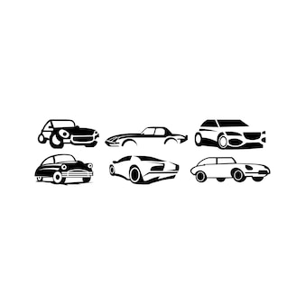 Set di icone car type e model objects. varianti della siluetta del corpo dell'automobile - vettore