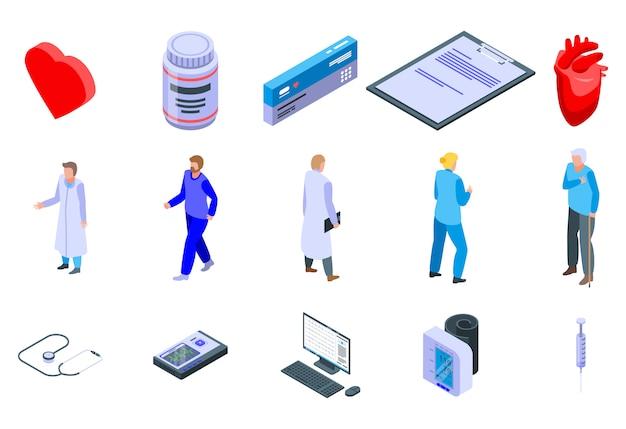 Set di icone cardiologo, stile isometrico