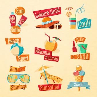 Set di icone carino brillante estate con elementi tipografici. .